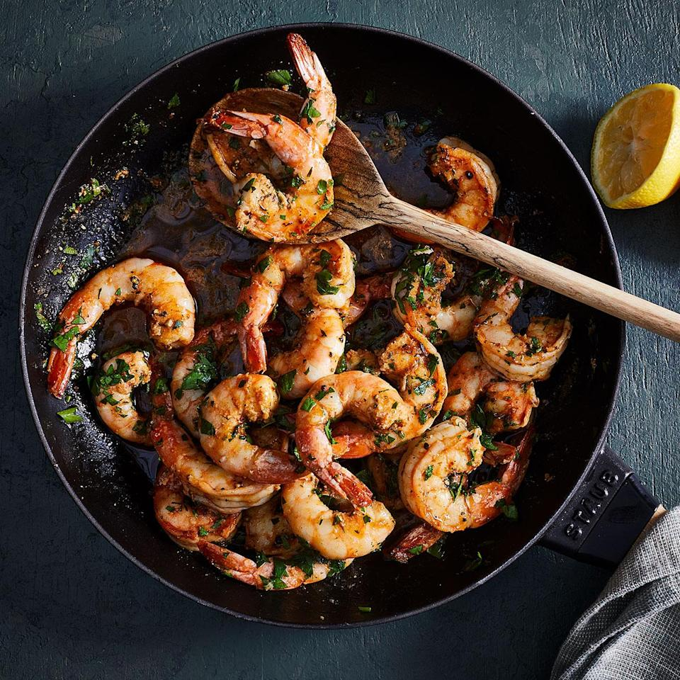 "<p>This Cajun shrimp recipe is as quick and easy as it gets. It's spicy and buttery, with a kick of lemon and fresh parsley to round out the flavors. The shrimp get a nice char on one side, then finish cooking in butter so the texture remains tender. <a href=""https://www.eatingwell.com/recipe/7878168/cajun-shrimp/"" rel=""nofollow noopener"" target=""_blank"" data-ylk=""slk:View recipe"" class=""link rapid-noclick-resp""> View recipe </a></p>"