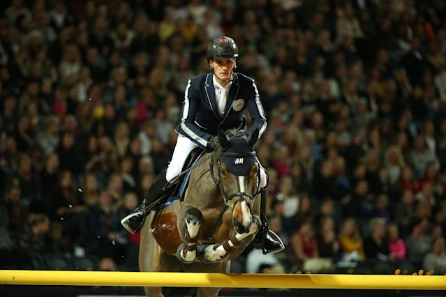 Equestrian - Sweden International Horse Show - International jumping - Qualification for Sweden Masters - Friends Arena, Stockholm, Sweden - December 1, 2017. Olivier Philippaerts of Belgium on his horse Ustina Sitte jumps. TT News Agency/Soren Andersson/via REUTERS ATTENTION EDITORS - THIS IMAGE WAS PROVIDED BY A THIRD PARTY. SWEDEN OUT. NO COMMERCIAL OR EDITORIAL SALES IN SWEDEN