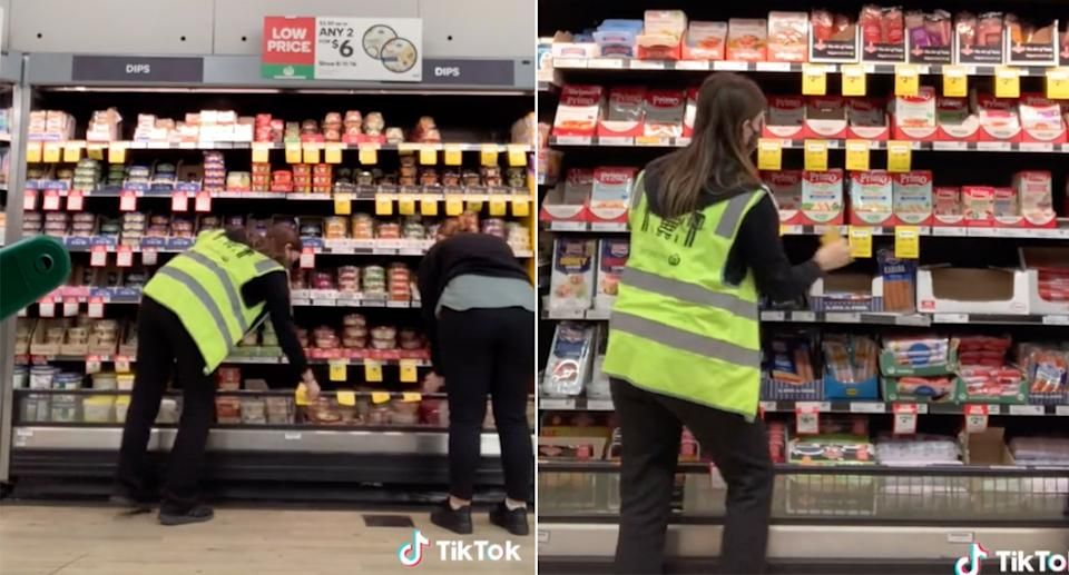 Putting out the special tickets is a Tuesday night ritual in Woolworths stores.  Source: TikTok