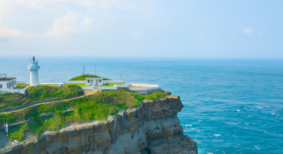 <p>Aerial view of Bitoujiao Lighthouse at the seaside of Keelung, Taiwan. (Shutterstock)</p>