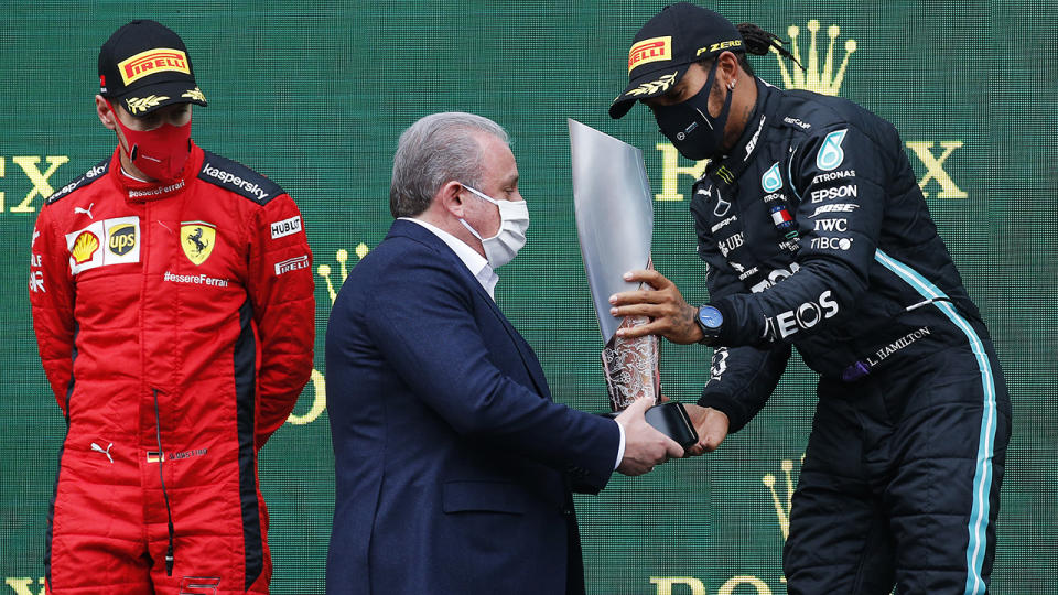 Sebastian Vettel and Lewis Hamilton, pictured here on the podium after the F1 Grand Prix of Turkey.