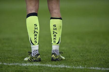 General view of Sharks players socks. Gloucester Rugby v Sale Sharks - Aviva Premiership - Kingsholm - 15/4/17. Adam Holt/Livepic