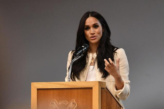 Meghan's visit to a school was under embargo until International Women's Day. (Getty Images)