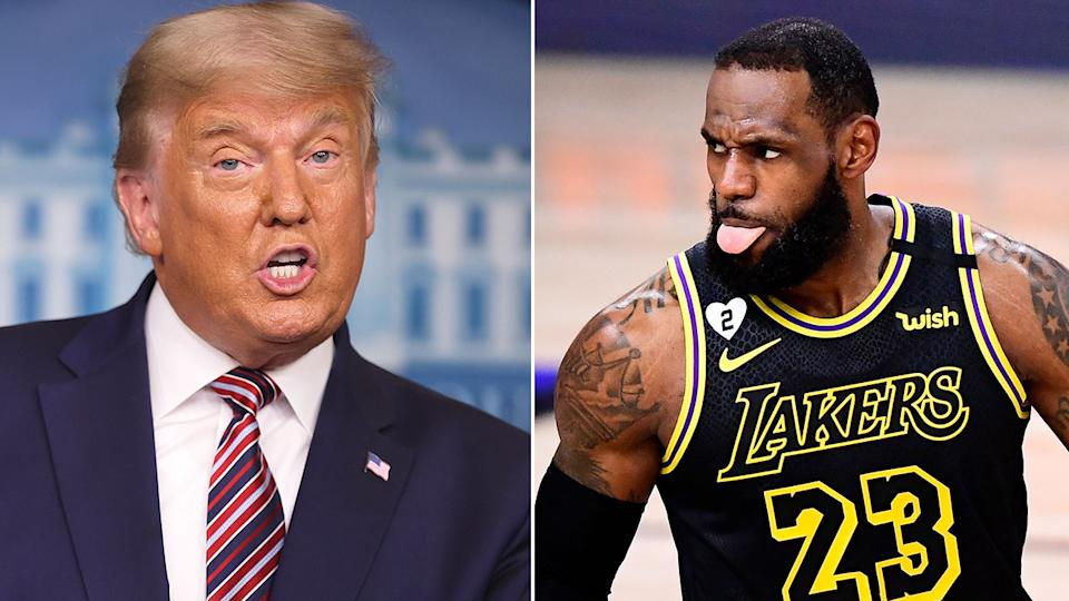 Pictured here, former US president Donald Trump and NBA star LeBron James.
