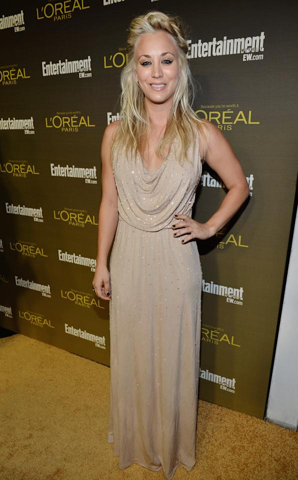 WEST HOLLYWOOD, CA - SEPTEMBER 21:  Actress Kaley Cuoco attends The 2012 Entertainment Weekly Pre-Emmy Party Presented By L'Oreal Paris at Fig & Olive Melrose Place on September 21, 2012 in West Hollywood, California.  (Photo by Alberto E. Rodriguez/Getty Images for Entertainment Weekly)