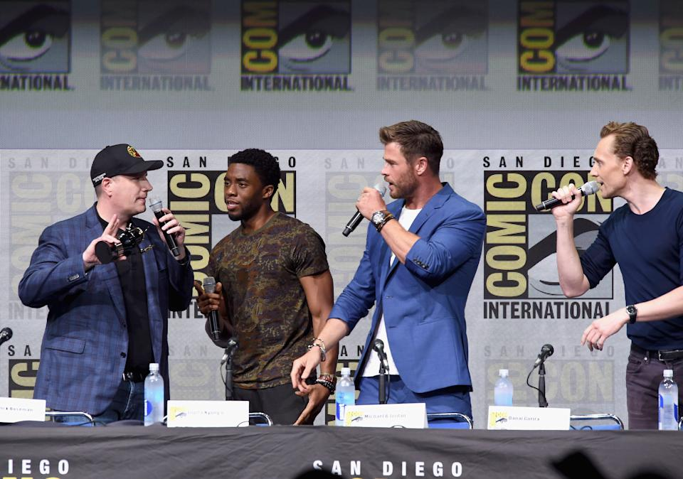 SAN DIEGO, CA - JULY 22:  Kevin Feige, Chadwick Boseman, Chris Hemsworth, Tom Hiddleston attend the Marvel Studios Presentation during Comic-Con International 2017 at San Diego Convention Center on July 22, 2017 in San Diego, California.  (Photo by Kevin Winter/Getty Images)