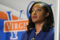 FILE - In this April 6, 2021, file photo Democratic candidate for Governor of Virginia Del. Jennifer Carroll Foy prepares for a debate at Virginia Sate University in Petersburg, Va. Foy and Virginia state Sen. Jennifer McClellan are trying to break another barrier in Virginia by becoming the first Black woman to win a governor's race. (AP Photo/Steve Helber, File)