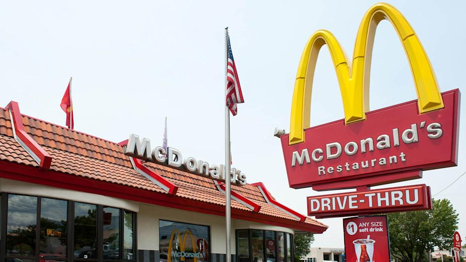 Albuquerque, New Mexico, USA - July 2, 2011: Traditional-looking McDonald's fast food restaurant with the characteristic company logo pole sign.