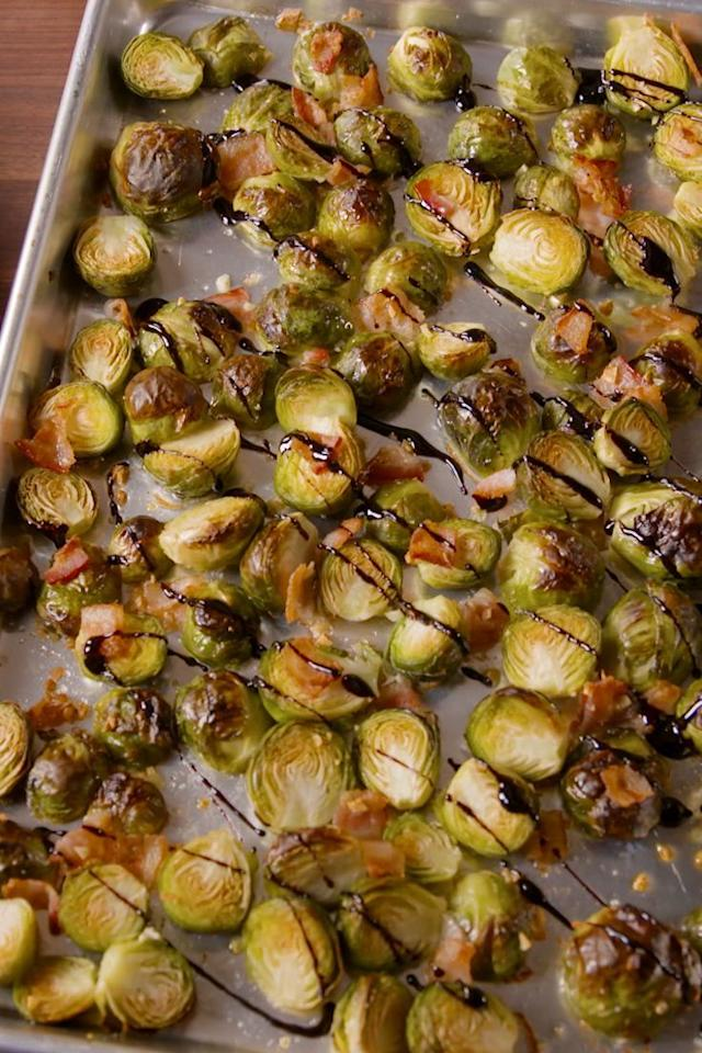 """<p>These <a href=""""https://www.delish.com/uk/cooking/recipes/a31094164/best-sauteed-brussel-sprouts-recipe/"""" target=""""_blank"""">Brussels sprouts</a> are easy enough to make on a weeknight but fancy enough to serve at a dinner party. We can't get enough of them! Instead of roasting the sprouts with balsamic vinegar (which would make them soggy and mushy) we make a simple balsamic glaze to garnish them with.</p><p>Get the <a href=""""https://www.delish.com/uk/cooking/recipes/a32048165/bacon-balsamic-brussels-sprouts-recipe/"""" target=""""_blank"""">Bacon Balsamic Brussels Sprouts</a> recipe. </p>"""