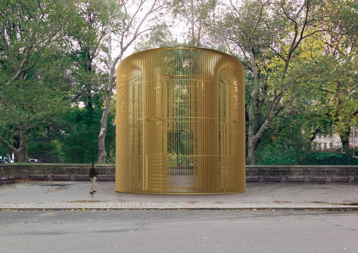 "Rendering of one piece in the Public Art Fund project ""Good Fences Make Good Neighbors"" at the Doris C. Freedman Plaza in New York City. (Public Art Fund/Ai Weiwei Studio/Frahm Frahm)"