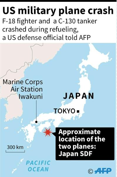 A map shows where the US military planes were involved in a crash