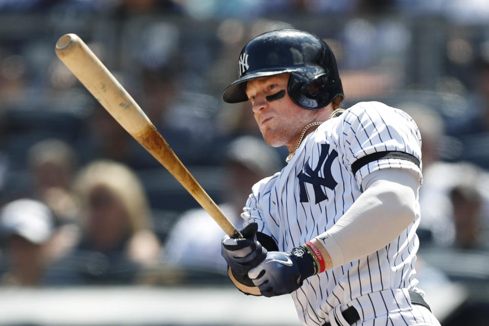 New York Yankees' Clint Frazier bats in a baseball game against the Oakland Athletics, Sunday, Sept. 1, 2019, in New York. (AP Photo/Kathy Willens)