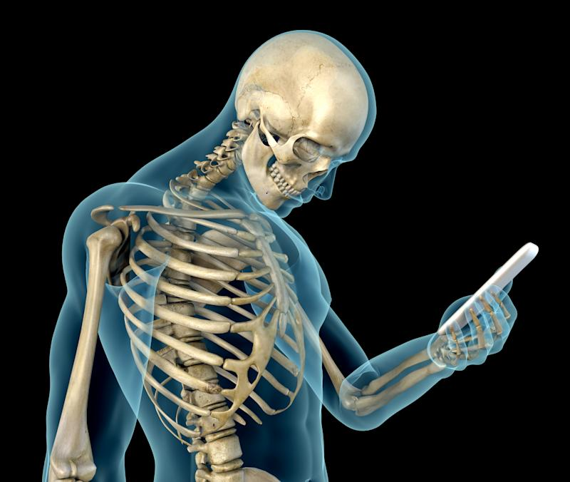 """Human anatomy showing wrong postures of using the phone. Wrong angle look at the device screen, causing a problem called """"text neck""""."""