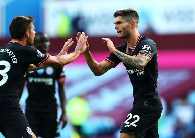 Chelsea's Christian Pulisic equalised at Villa Park (PA)