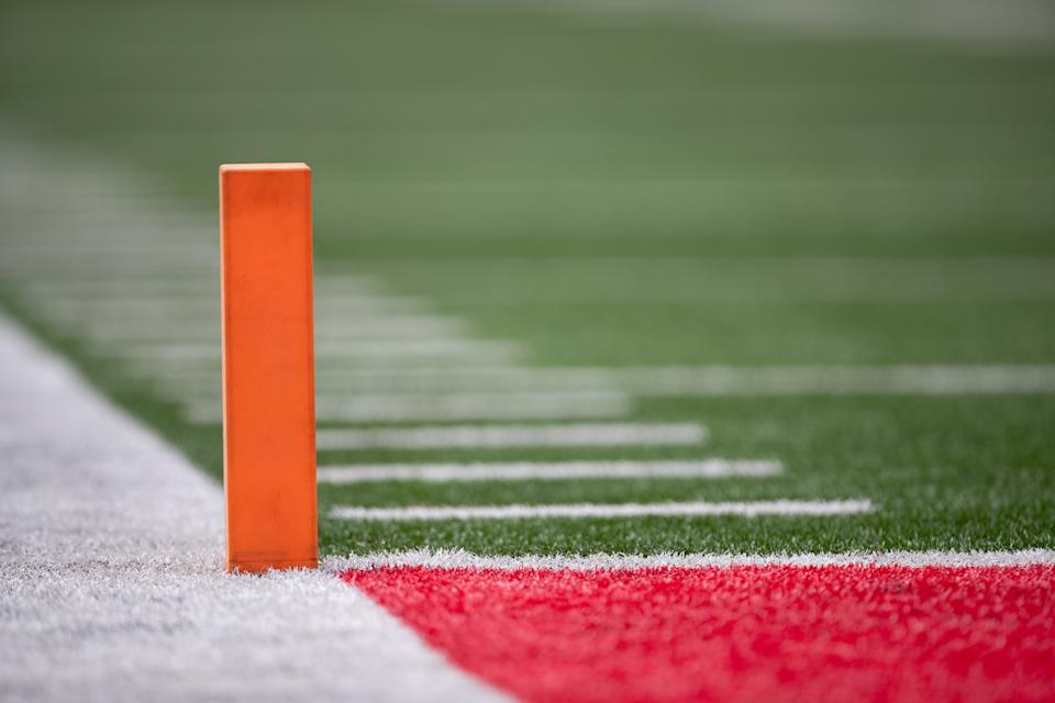 COLUMBUS, OH - AUGUST 31: A detailed view of an end zone pylon during game action between the Ohio State Buckeyes and the Florida Atlantic Owls on August 31, 2019, at Ohio Stadium in Columbus, OH. (Photo by Adam Lacy/Icon Sportswire via Getty Images)