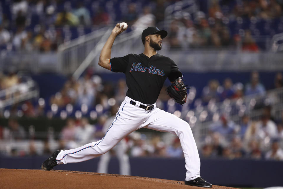 Miami Marlins starting pitcher Sandy Alcantara delivers during the first inning of a baseball game against the Atlanta Braves, Saturday, Aug. 10, 2019, in Miami. (AP Photo/Brynn Anderson)
