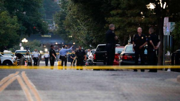 PHOTO: Authorities work the scene of a mass shooting, Sunday, Aug. 4, 2019, in Dayton, Ohio. (John Minchillo/AP)