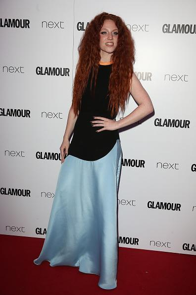 <p>Glamour Award winner Jess Glynne wore a quirky dress with a massive hair-do. [<i>Photo: Fred Duval/FilmMagic]</i></p>