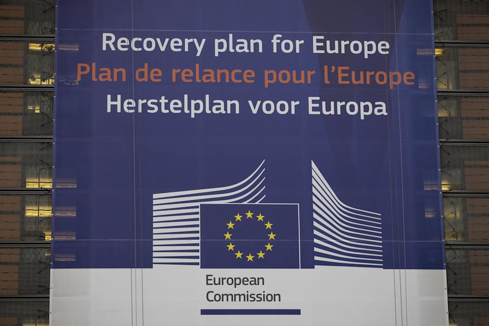 A view of a sign for the Recovery plan for Europe in Brussels. (Photo by Aaron Chown/PA Images via Getty Images) (Photo: Aaron Chown - PA Images via Getty Images)