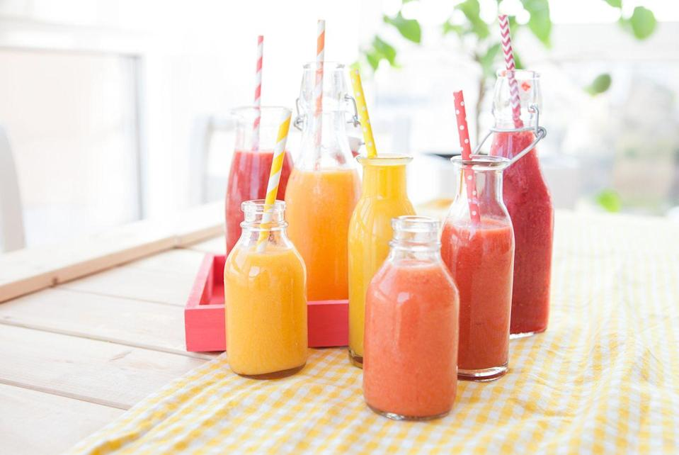 """<p>Serving size and sugars can be deceptive in these sips. """"What could seem healthier than a fruit <a href=""""https://www.prevention.com/food-nutrition/healthy-eating/g25457855/high-protein-smoothies/"""" rel=""""nofollow noopener"""" target=""""_blank"""" data-ylk=""""slk:smoothie"""" class=""""link rapid-noclick-resp"""">smoothie</a>? In theory they should be healthy, unless you count how many grams of sugar you are actually consuming,"""" Fisher notes. </p><p>Consider how many pieces of fruit it takes squeeze one full glass of juice. """"Plus, by drinking fruit instead of eating it whole, you lose the essential fiber that could help normalize elevated blood lipids—a key risk factor of heart disease,"""" Fisher says.</p>"""