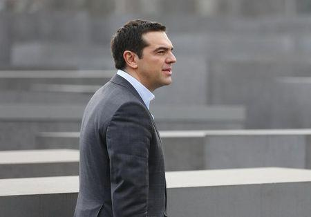 Greek Prime Minister Alexis Tsipras visits the Holocaust Memorial in Berlin March 24, 2015.  REUTERS/Hannibal Hanschke