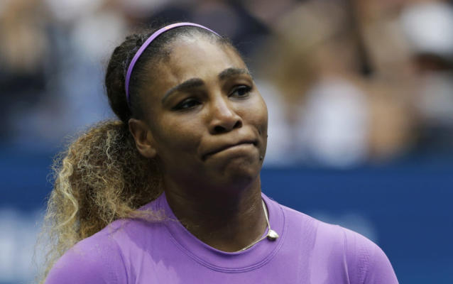 Serena Williams reacts after losing a point to Bianca Andreescu, of Canada, during the women's singles final of the U.S. Open. (AP)