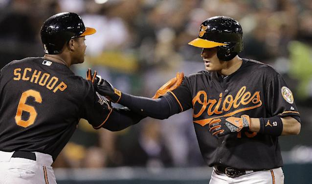 Baltimore Orioles' Manny Machado, right, is congratulated by Jonathan Schoop (6) after Machado hit a two-run home run off Oakland Athletics' Jeff Samardzija in the seventh inning of a baseball game Friday, July 18, 2014, in Oakland, Calif. (AP Photo/Ben Margot)