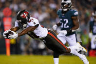 Tampa Bay Buccaneers wide receiver Antonio Brown (81) scores a touchdown during the first half of an NFL football game against the Philadelphia Eagles on Thursday, Oct. 14, 2021, in Philadelphia. (AP Photo/Matt Rourke)