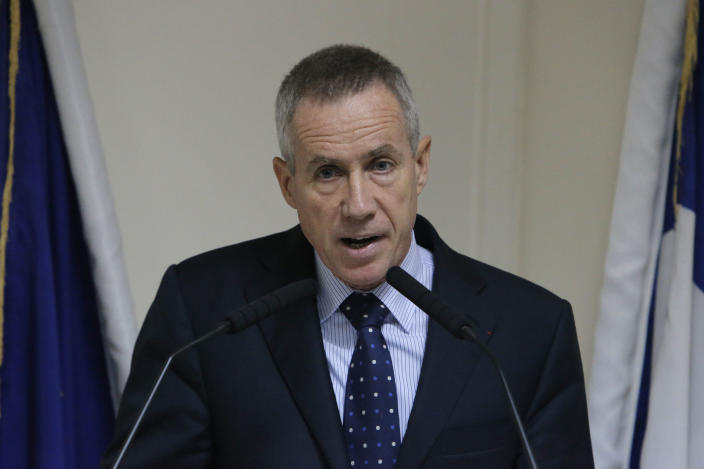 French State prosecutor Francois Molins delivers his speech during a press conference at the Court in Paris, Wednesday, Oct. 10, 2012 after French police who broke up a suspected terrorist cell discovered bomb-making material in an enclosed parking lot in the lot in the town of Torcy, east of Paris. (AP Photo/Francois Mori)