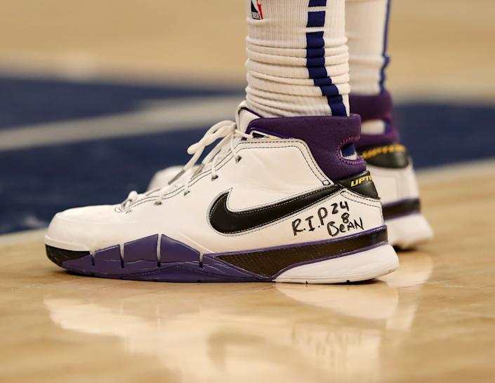 Marcus Morris Sr. of the New York Knicks wearing sneakers in honor of Kobe Bryant at a game against the Brooklyn Nets on Jan. 26.