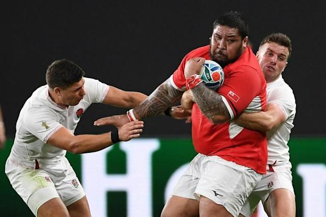 Ben Tameifuna ballooned to 160kgs while on World Cup duty with Tonga and will not play for Racing until he has lost 20kgs (AFP Photo/WILLIAM WEST)