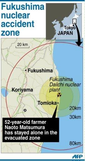 Map showing the evacuation zone around Japan's stricken Fukushima nuclear power plant