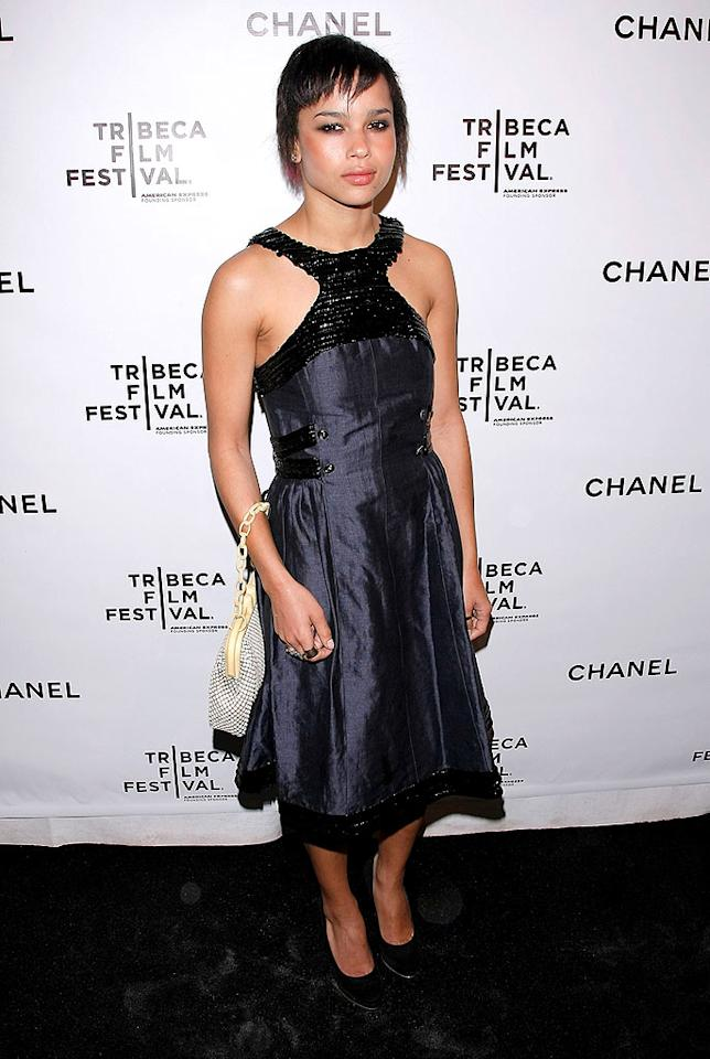 """Meanwhile, Zoe Kravitz glares at the camera. Don't mess with Lenny's little girl! Jemal Countess/<a href=""""http://www.wireimage.com"""" target=""""new"""">WireImage.com</a> - April 28, 2008"""