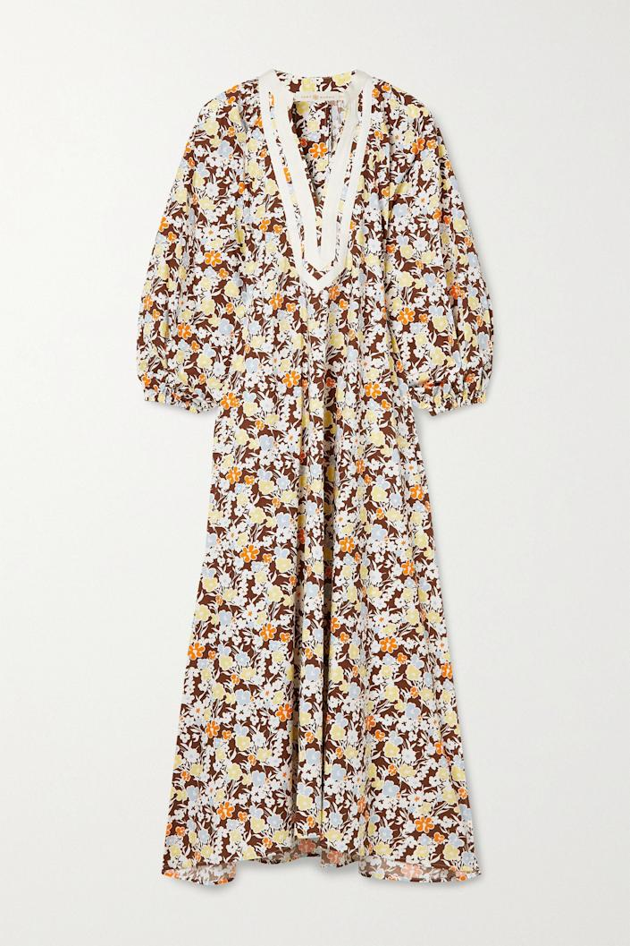 """<p><strong>Tory Burch</strong></p><p>net-a-porter.com</p><p><strong>$400.00</strong></p><p><a href=""""https://go.redirectingat.com?id=74968X1596630&url=https%3A%2F%2Fwww.net-a-porter.com%2Fen-us%2Fshop%2Fproduct%2Ftory-burch%2Fgrosgrain-trimmed-floral-print-cotton-midi-dress%2F1319707&sref=https%3A%2F%2Fwww.townandcountrymag.com%2Fstyle%2Fg2095%2Fmothers-day-gift-ideas%2F"""" rel=""""nofollow noopener"""" target=""""_blank"""" data-ylk=""""slk:Shop Now"""" class=""""link rapid-noclick-resp"""">Shop Now</a></p><p>Elevate your mom's <a href=""""https://www.townandcountrymag.com/style/fashion-trends/a32381051/how-to-wear-caftans/"""" rel=""""nofollow noopener"""" target=""""_blank"""" data-ylk=""""slk:caftan"""" class=""""link rapid-noclick-resp"""">caftan</a> game with a fun printed number that is comfortable, but oh-so fabulous. </p>"""