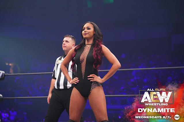 "Brandi Rhodes is seen prior to competing on an episode of All Elite Wrestling's ""Dynamite"" show. (Photo courtesy of All Elite Wrestling)"