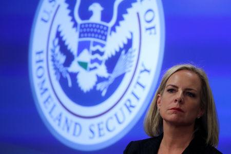 U.S. Secretary of Homeland Security Nielsen visits the DHS Election Operations Center in Arlington, Virginia