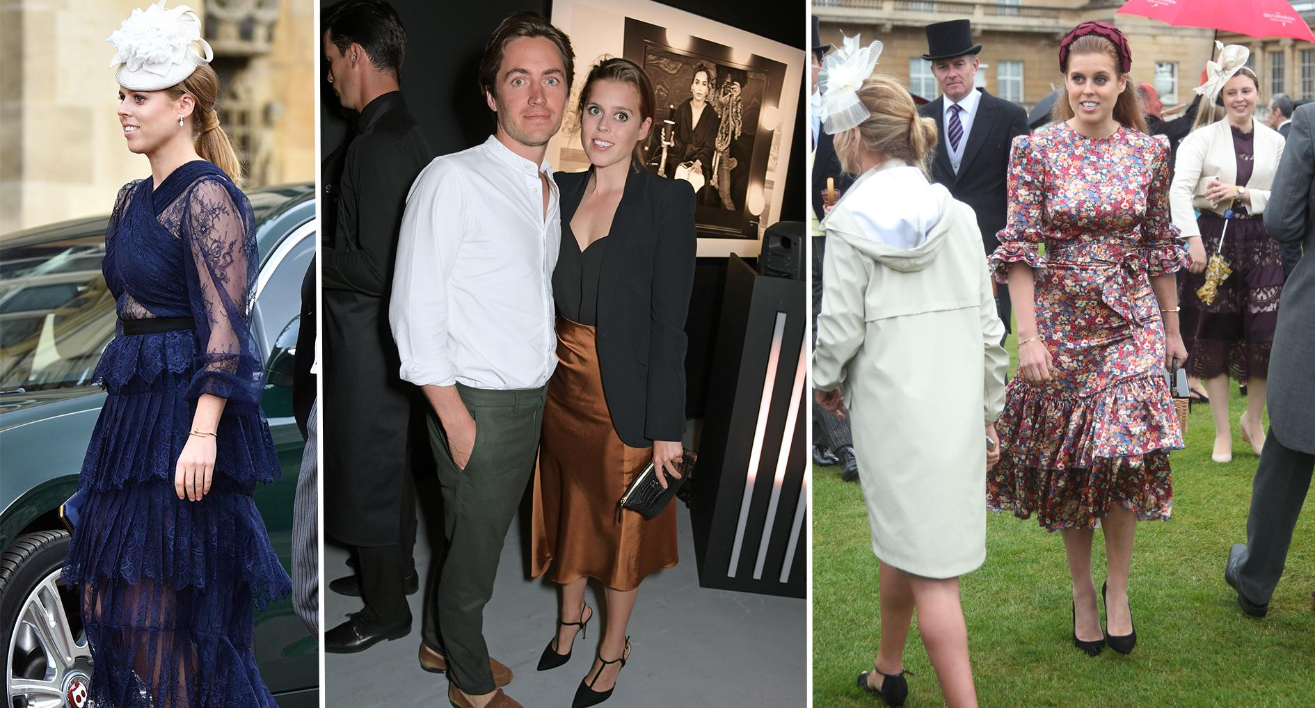 Princess Beatrice's outfits: A Self Portrait dress, a Reiss skirt and The Vampire's Wife dress. [Photos: Getty]