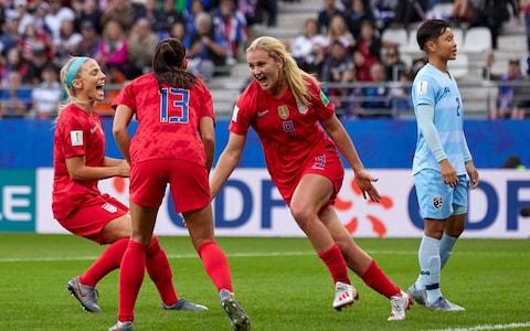 Lindsey Horan of USA celebrates their team's third goal during the 2019 FIFA Women's World Cup France group F match between USA and Thailand - Credit: GETTY IMAGES