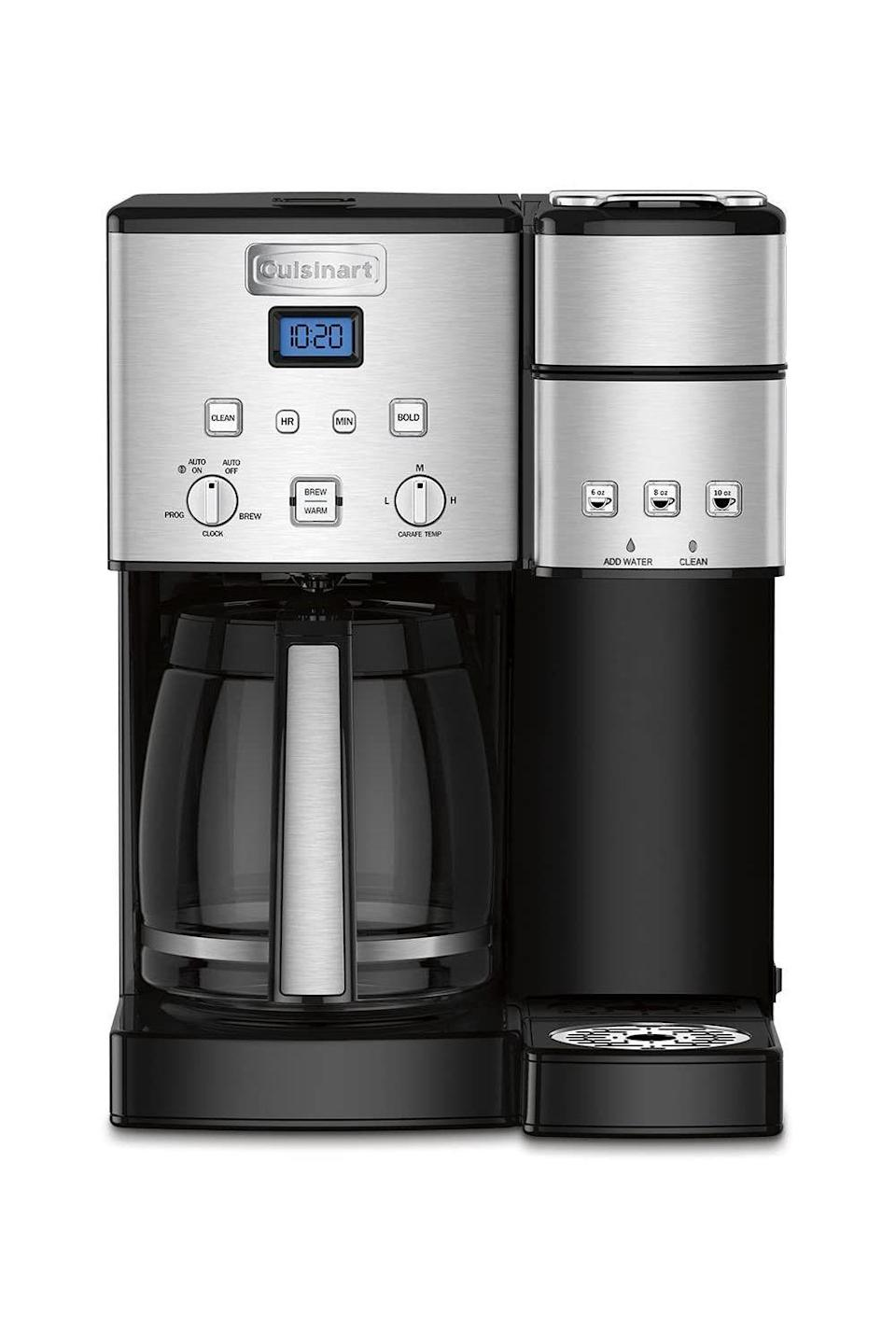 """<p><strong>Cuisinart</strong></p><p>amazon.com</p><p><strong>$199.95</strong></p><p><a href=""""https://www.amazon.com/dp/B01KIG4YNO?tag=syn-yahoo-20&ascsubtag=%5Bartid%7C10072.g.26961897%5Bsrc%7Cyahoo-us"""" rel=""""nofollow noopener"""" target=""""_blank"""" data-ylk=""""slk:Shop Now"""" class=""""link rapid-noclick-resp"""">Shop Now</a></p><p>When you're <em>that </em>tired, a coffee maker is something a new dad really needs. This appliance works overtime to brew a pot for one parent to keep warm at home and the other to make a single-serve cuppa to go.</p>"""