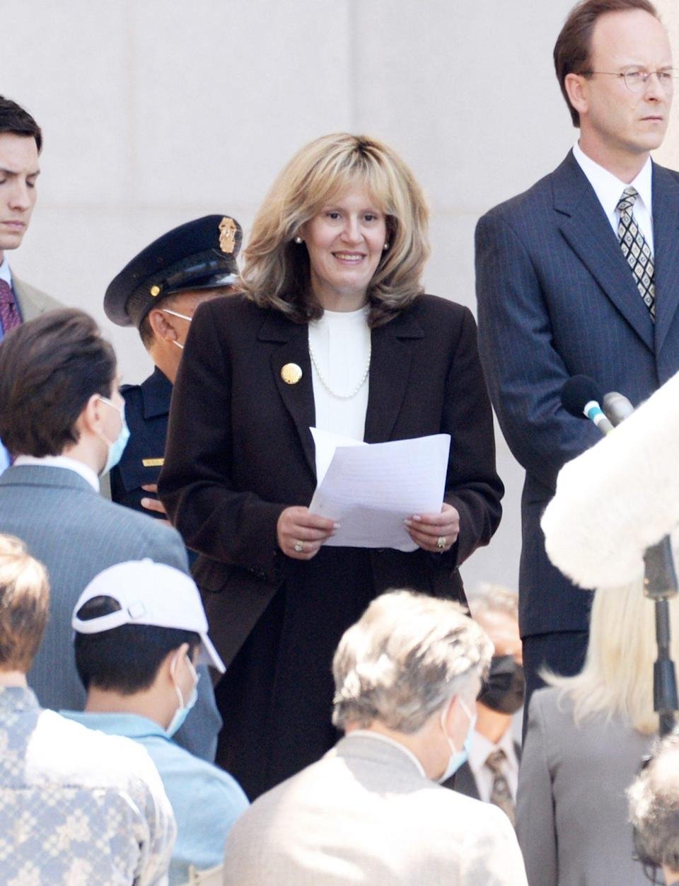 <p>Sarah Paulson is unrecognizable as Linda Tripp on the set of <em>American Crime Story: Impeachment</em> in downtown L.A. on June 27.</p>