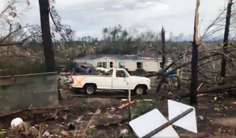 This photo shows debris in Lee County, Ala., after what appeared to be a tornado struck in the area, March 3, 2019. Severe storms destroyed mobile homes, snapped trees and left a trail of destruction amid weather warnings extending into Georgia, Florida and South Carolina, authorities said. (Photo: WKRG-TV via AP)