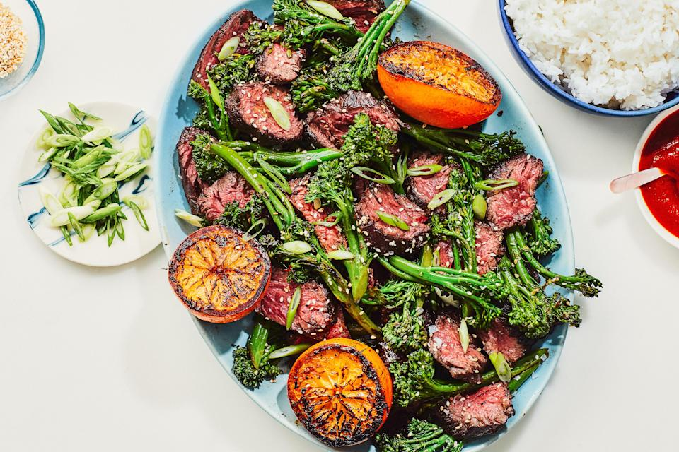 """The secret to the deep orange flavor in this simple weeknight dinner is to sear halved oranges next to the steak as it cooks, and then squeeze the caramelized juice all over your plate before digging in. <a href=""""https://www.epicurious.com/recipes/food/views/chinese-five-spice-steak-with-oranges-and-sesame-broccolini?mbid=synd_yahoo_rss"""" rel=""""nofollow noopener"""" target=""""_blank"""" data-ylk=""""slk:See recipe."""" class=""""link rapid-noclick-resp"""">See recipe.</a>"""