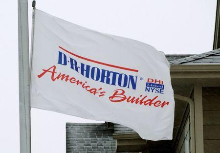 FILE PHOTO: A flag outside a house built by the D.R. Horton company is seen in Arvada