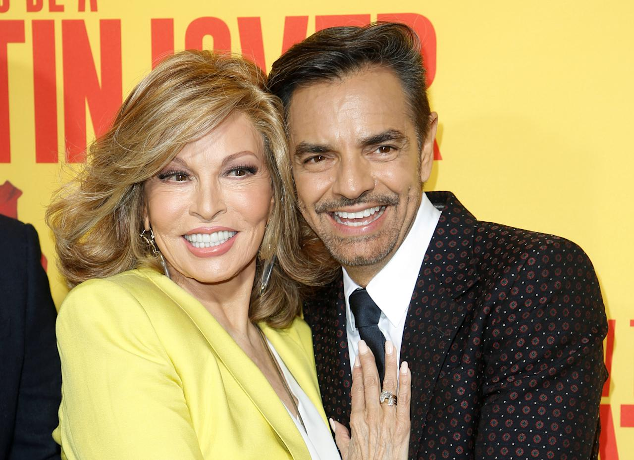 "Actors Raquel Welch (L) and Eugenio Derbez pose at the premiere of ""How to Be a Latin Lover"" in Los Angeles, California, U.S. April 26, 2017. REUTERS/Danny Moloshok"