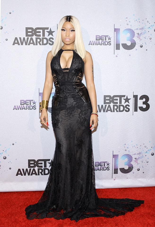 LOS ANGELES, CA - JUNE 30: Singer Nicki Minaj, winner of the Best Female Hip Hop Artist Award poses in the Backstage Winner's Room at Nokia Theatre L.A. Live on June 30, 2013 in Los Angeles, California. (Photo by Mike Windle/Getty Images for BET)