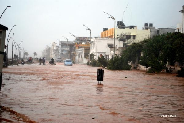 Seawater invaded the main thoroughfare after Cyclone Thane tore through Puducherry. Photo by Yahoo! reader Renu Selvan