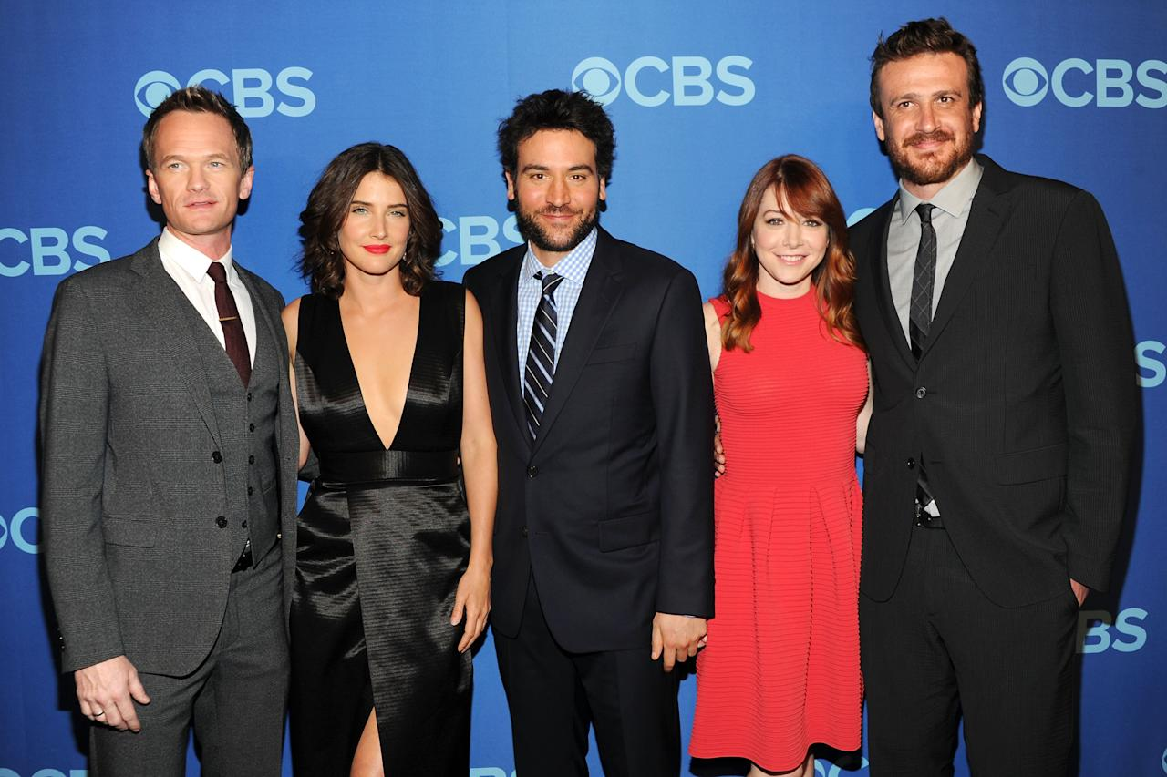 NEW YORK, NY - MAY 15:  (L-R) Cast members of How I Met Your Mother Neil Patrick Harris, Cobie Smulders, Josh Radnor, Alyson Hannigan and Jason Segel attend CBS 2013 Upfront Presentation at The Tent at Lincoln Center on May 15, 2013 in New York City.  (Photo by Ben Gabbe/Getty Images)