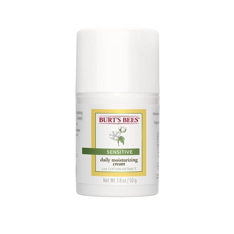 "<strong><a href=""https://www.amazon.com/Burts-Bees-Moisturizer-Sensitive-Ounces/dp/B004VMGTY4?tag=thehuffingtop-20"" target=""_blank"">Burt's Bees daily moisturizer for sensitive skin</a>, $11.30</strong>"