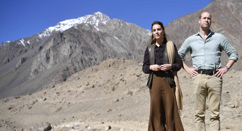 KHYBER PAKHUNKWA, PAKISTAN - OCTOBER 16: Prince William, Duke of Cambridge and Catherine, Duchess of Cambridge visit the Chiatibo glacier in the Hindu Kush mountain range on October 16, 2019 in the Chitral District of Khyber-Pakhunkwa Province, Pakistan. They spoke with a an expert about how climate change is impacting glacial landscapes. The Cambridge's are engaging in a royal tour of Pakistan from 14th -18th October.(Photo by Neil Hall - Pool/Getty Images)