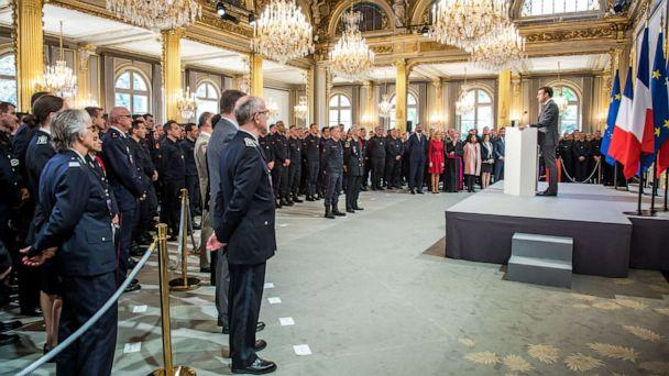 PHOTO: French President Emmanuel Macron delivers a speech for the Parisian Firefighters' brigade and security forces who took part at the fire extinguishing operations during the Notre Dame Cathedral fire, at Elysee Palace in Paris, April 18, 2019. (Christophe Petit Tesson/Pool via Reuters)